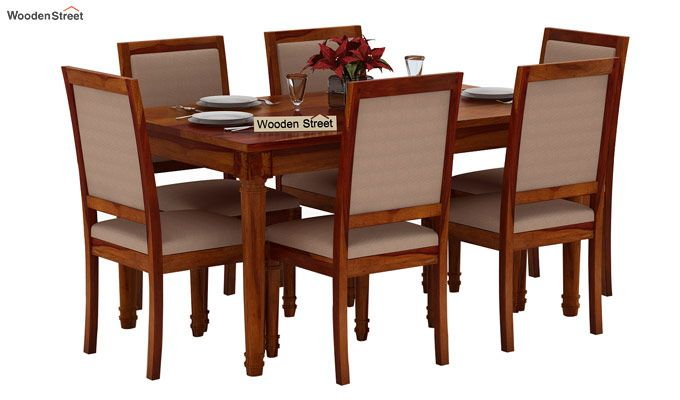 Henson 6 Seater Dining Set (Honey Finish)-1
