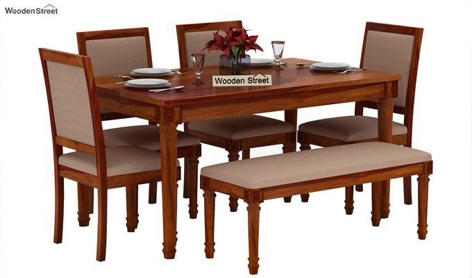 Henson 6 Seater Dining Set With Bench (Honey Finish)-1