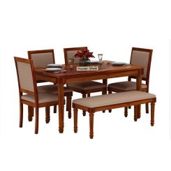 Henson 6 Seater Dining Set With Bench (Honey Finish)