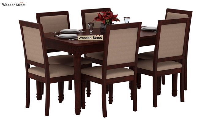 Henson 6 Seater Dining Set (Mahogany Finish)-1
