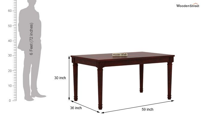Henson 6 Seater Dining Set With Bench (Mahogany Finish)-9