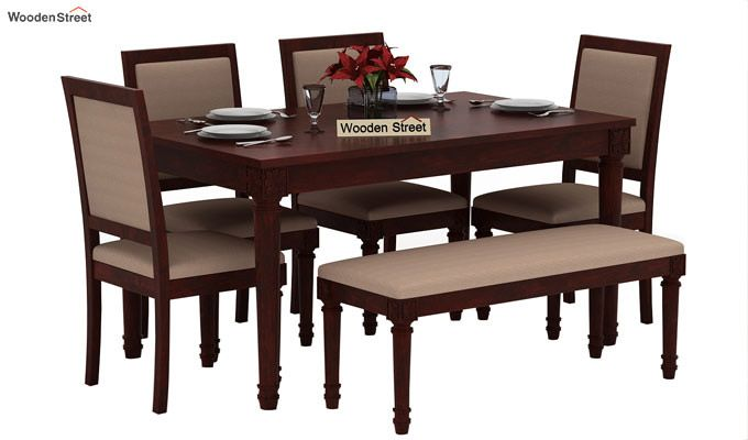 Henson 6 Seater Dining Set With Bench (Mahogany Finish)-1