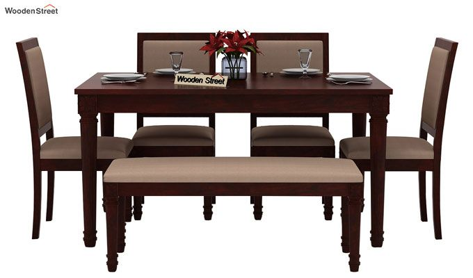 Henson 6 Seater Dining Set With Bench (Mahogany Finish)-2