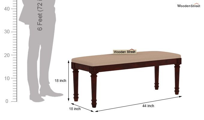 Henson 6 Seater Dining Set With Bench (Mahogany Finish)-11
