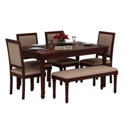 Henson 6 Seater Dining Set With Bench (Mahogany Finish)