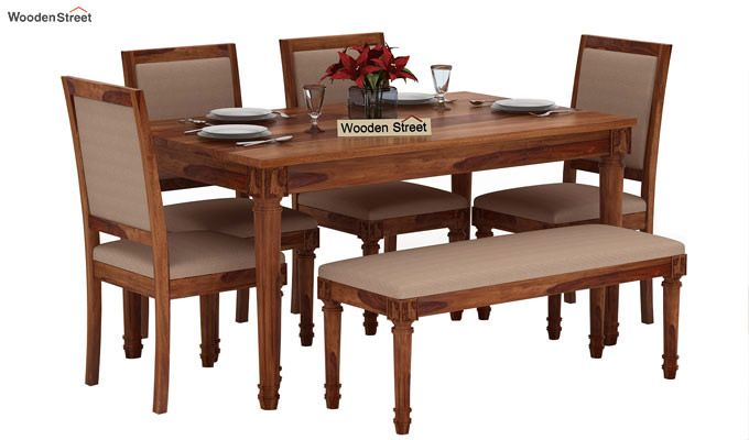 Henson 6 Seater Dining Set With Bench (Teak Finish)-1
