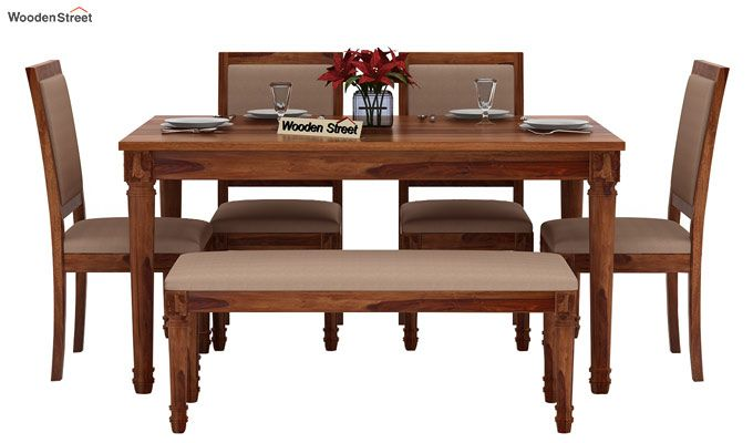 Henson 6 Seater Dining Set With Bench (Teak Finish)-2
