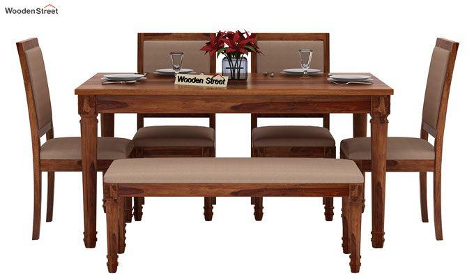 Henson 6 Seater Dining Set With Bench (Teak Finish)-2