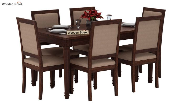 Henson 6 Seater Dining Set (Walnut Finish)-2