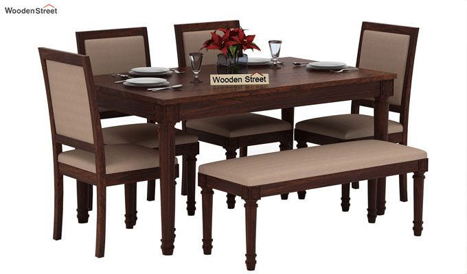 Henson 6 Seater Dining Set With Bench (Walnut Finish)-2