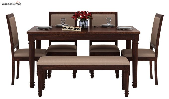 Henson 6 Seater Dining Set With Bench (Walnut Finish)-3