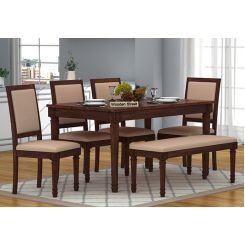 Henson 6 Seater Dining Set With Bench (Walnut Finish)