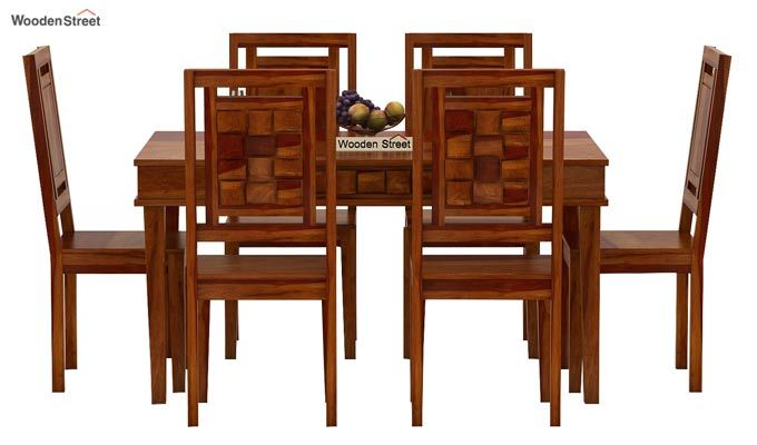 Howler 6 Seater Dining Table Set (Honey Finish)-3