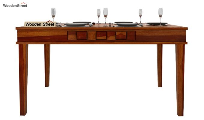 Howler 6 Seater Dining Table Set (Honey Finish)-4