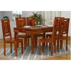 Howler 6 Seater Dining Table Set (Honey Finish)