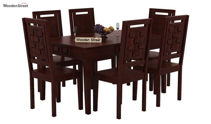 Howler 6 Seater Dining Table Set (Mahogany Finish)-1