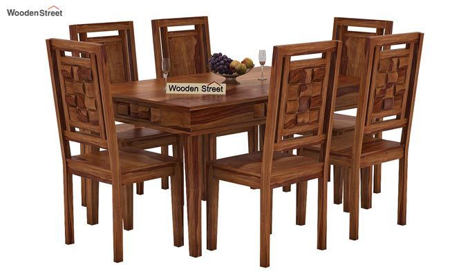 Howler 6 Seater Dining Table Set (Teak Finish)-1