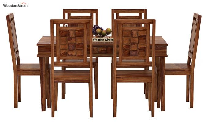 Howler 6 Seater Dining Table Set (Teak Finish)-2