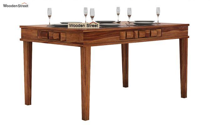Howler 6 Seater Dining Table Set (Teak Finish)-4