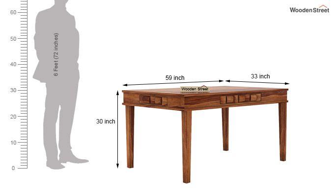 Howler 6 Seater Dining Table Set (Teak Finish)-9
