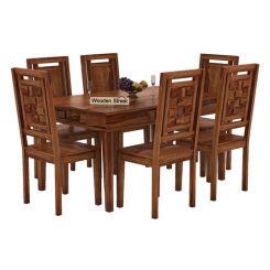 Howler 6 Seater Dining Table Set (Teak Finish)