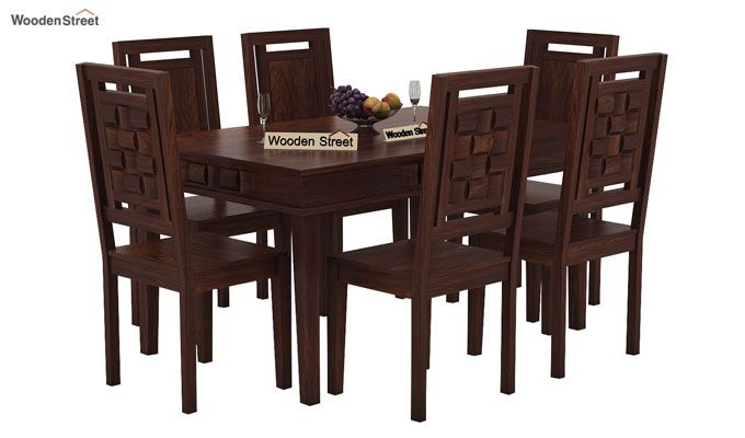 Howler 6 Seater Dining Table Set (Walnut Finish)-1