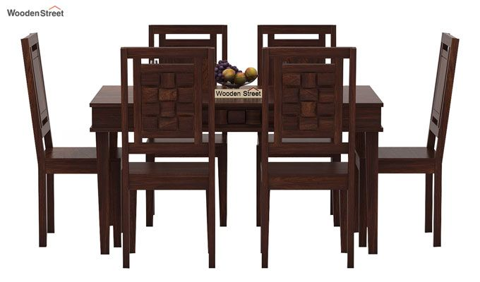 Howler 6 Seater Dining Table Set (Walnut Finish)-2