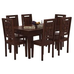 Howler 6 Seater Dining Table Set (Walnut Finish)