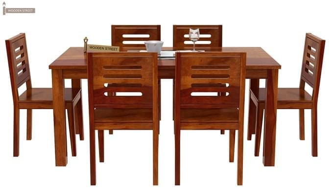 Janet 6 Seater Dining Table Set (Honey Finish)-2