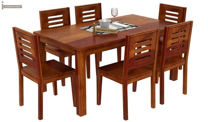 Janet 6 Seater Dining Table Set (Honey Finish)-3