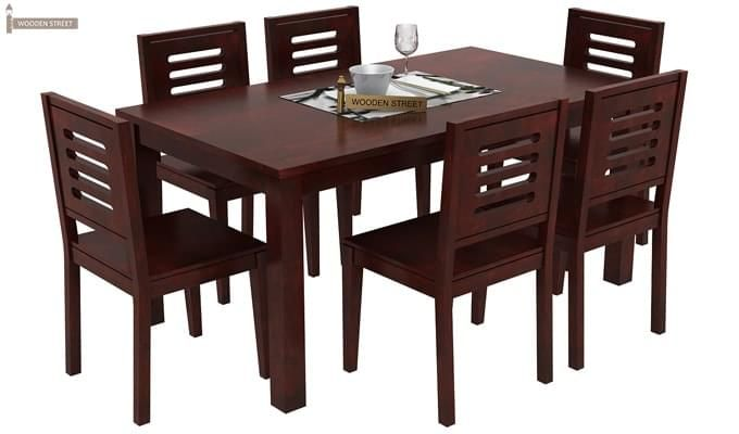 Buy Janet 6 Seater Dining Table Set Mahogany Finish