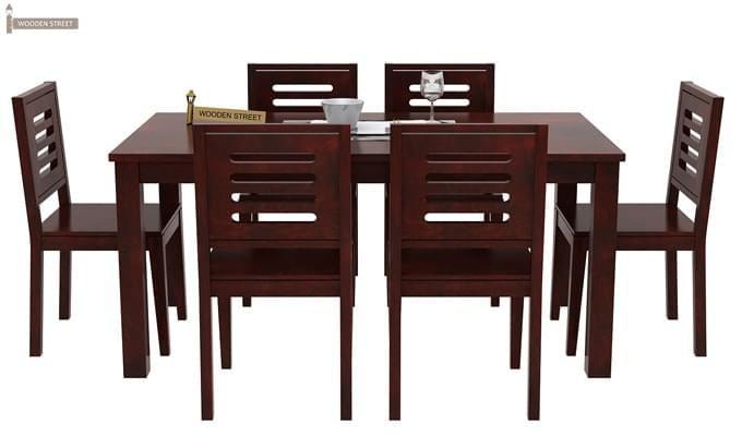 Janet 6 Seater Dining Table Set (Mahogany Finish)-2