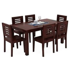 Janet 6 Seater Dining Table Set (Mahogany Finish)