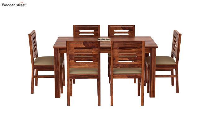 Janet Cushioned 6 Seater Dining Table Set (Honey Finish)-3