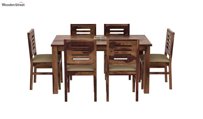 Janet Cushioned 6 Seater Dining Table Set (Teak Finish)-3