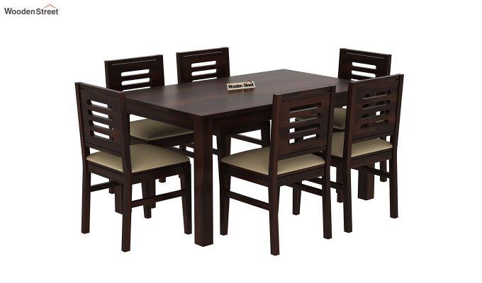 Janet Cushioned 6 Seater Dining Table Set (Walnut Finish)-2