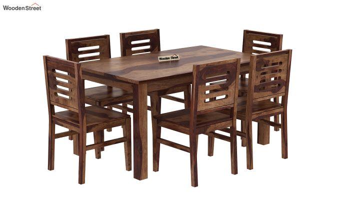 Janet 6 Seater Dining Table Set (Teak Finish)-2