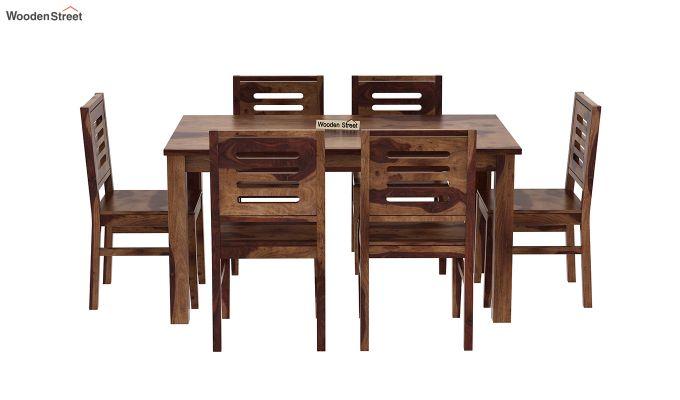 Janet 6 Seater Dining Table Set (Teak Finish)-3