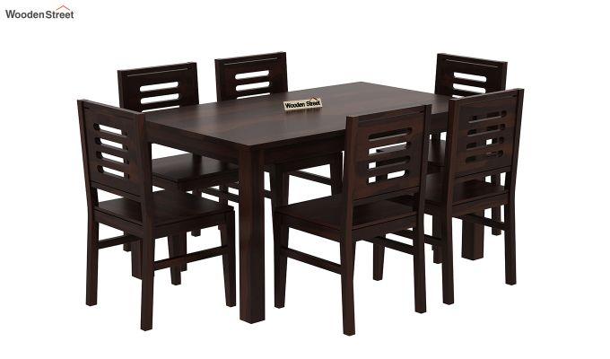 Janet 6 Seater Dining Table Set (Walnut Finish)-2