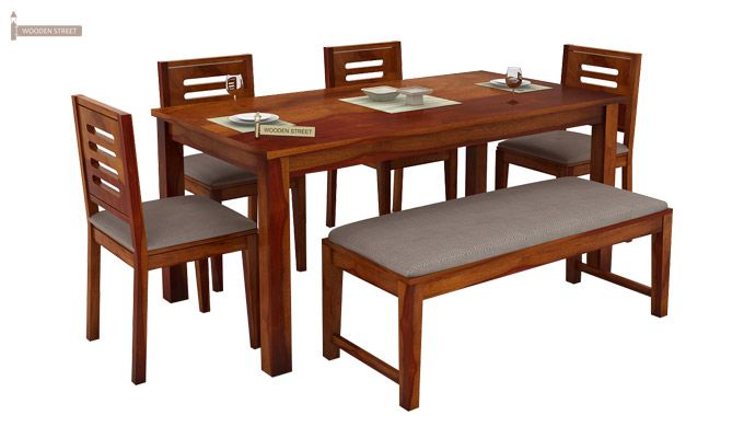Buy Janet 6 Seater Dining Table Set With Bench Honey