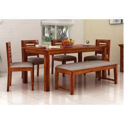 Janet 6 Seater Dining Table Set With Bench (Honey Finish)