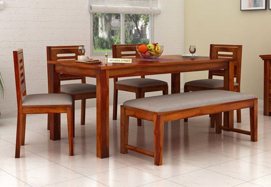 6 seater dining table online six seater dining table set for Wood dining table decor