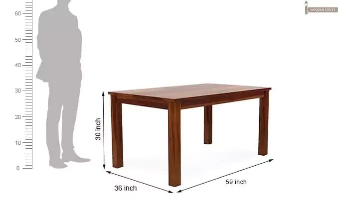 Janet 6 Seater Dining Table Set With Bench (Honey Finish)-10