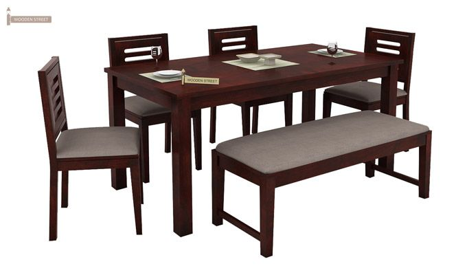 Janet 6 Seater Dining Table Set With Bench (Mahogany Finish)-1