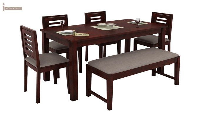 Janet 6 Seater Dining Table Set With Bench (Mahogany Finish)-2