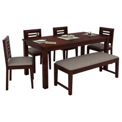 Janet 6 Seater Dining Table Set With Bench (Mahogany Finish)
