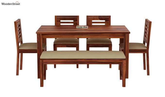 Janet 6 Seater Dining Table Set With Bench (Honey Finish)-3