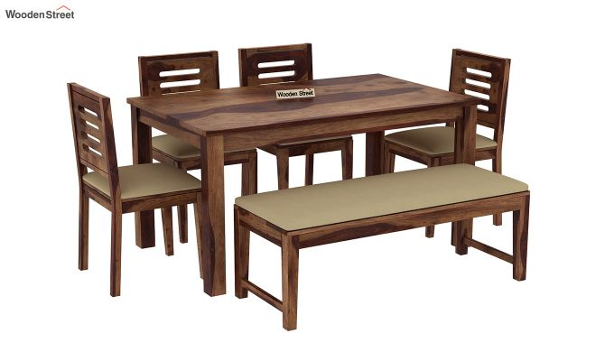 Janet 6 Seater Dining Table Set With Bench (Teak Finish)-2