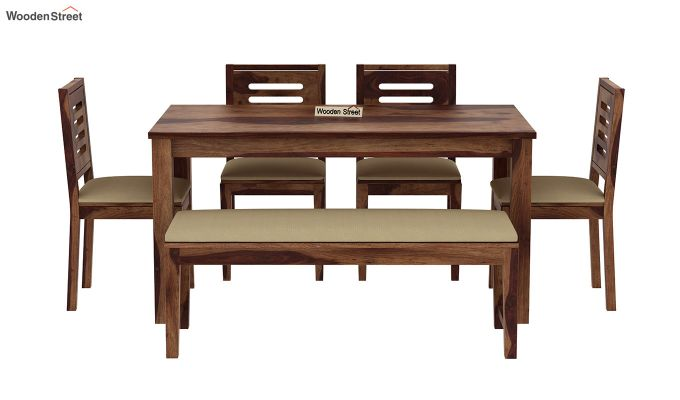 Janet 6 Seater Dining Table Set With Bench (Teak Finish)-3
