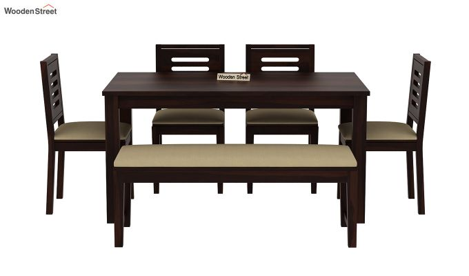Janet 6 Seater Dining Table Set With Bench (Walnut Finish)-3